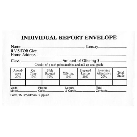 Individual Report Envelopes (Form 15)
