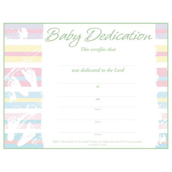 Church Supplies Baby Dedication Certificate